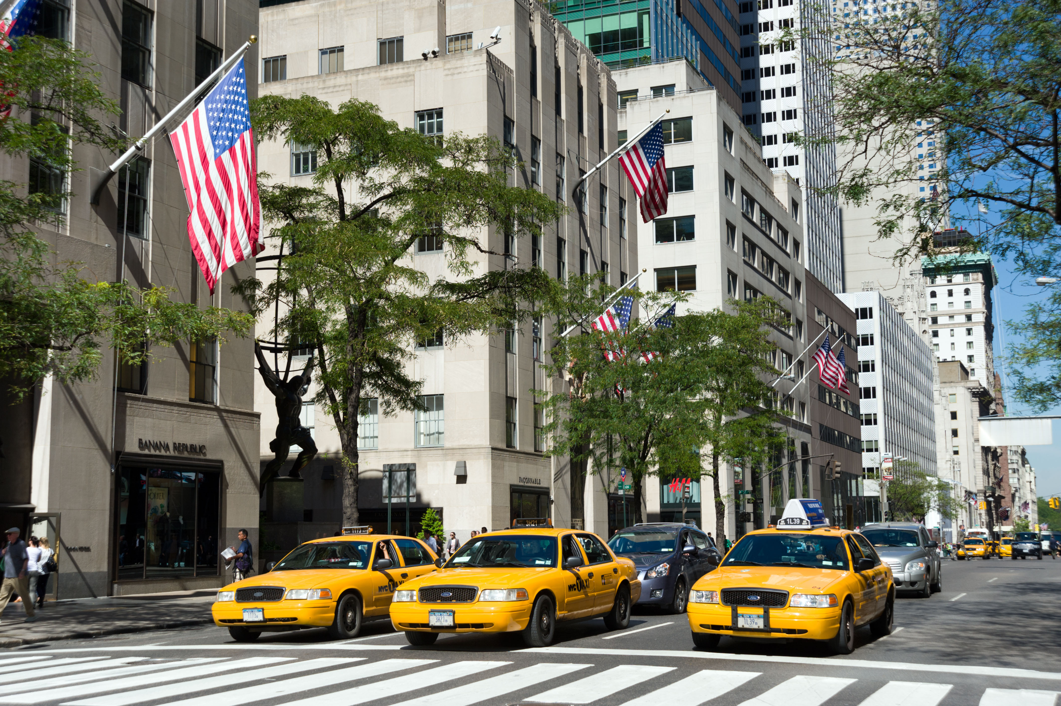 Taxis on Fifth Avenue, New York City streets, USA