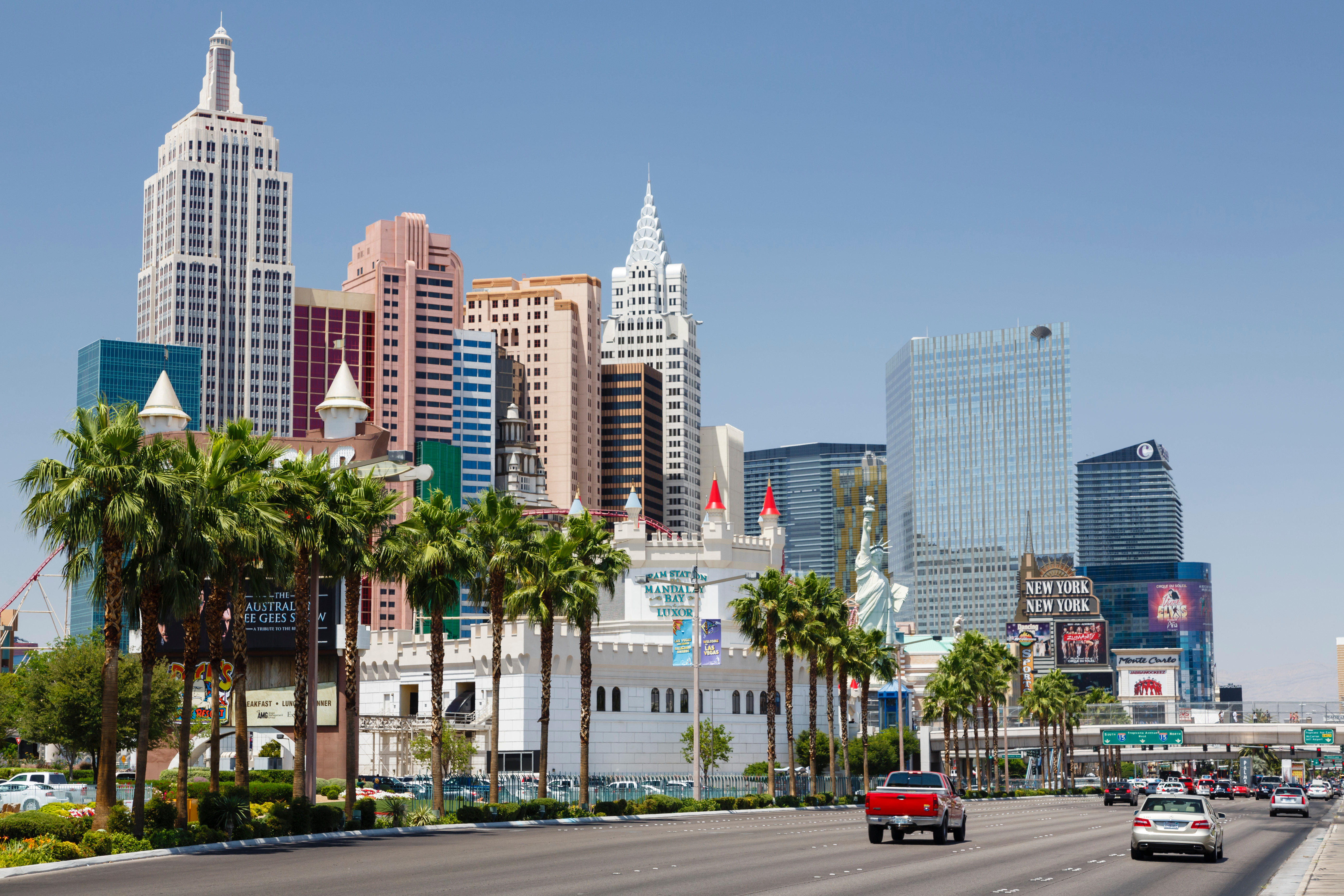 Las Vegas, USA - May 19, 2012. Excalibur Hotel and New York New York Hotel and Casino on Las Vegas Boulevard.