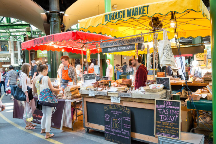 Borough Market stalls, London, England, UK