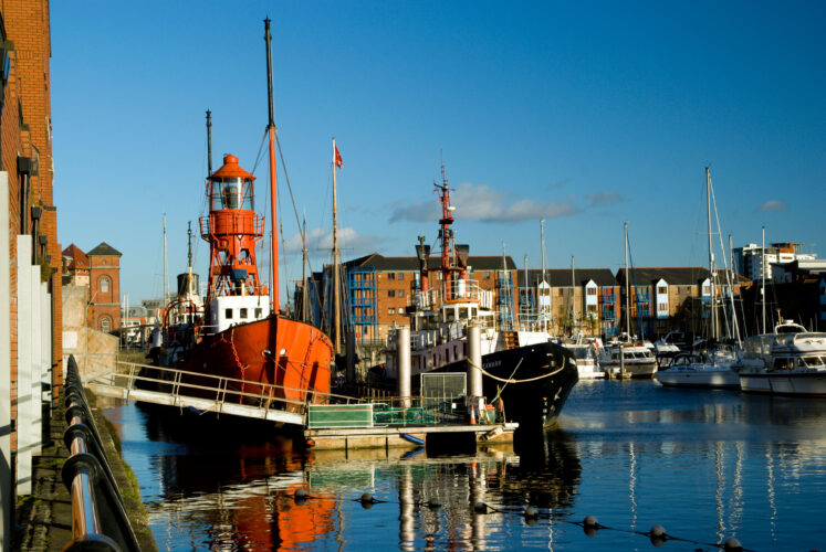 lightship and other boats part of the national waterfront museum display swansea maritime quarter swansea wales uk