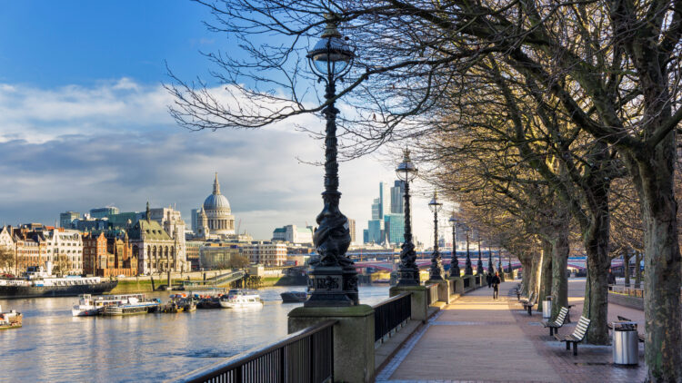South Bank, London, England, UK - Walking along Southbank of the River Thames towards St Paul's on the Queens Walk
