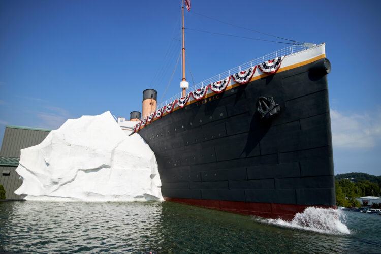 titanic and iceberg at the titanic exhibition pigeon forge tennessee usa