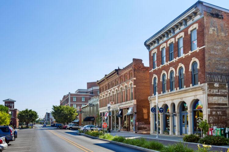Historic buildings on Massachusetts Avenue, Indianapolis, Indiana, USA
