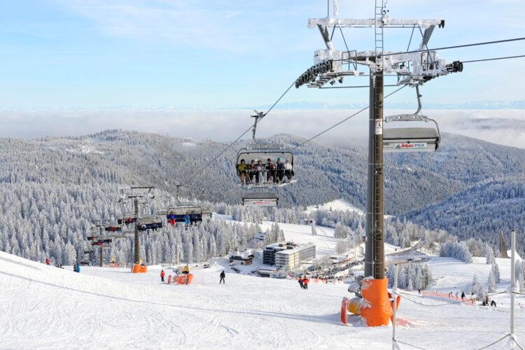 Ski-lift on Mt. Seebuck, an outlier of the 1493m high Mt. Feldberg in the Black Forest, Landkreis Breisgau-Hochschwarzwald